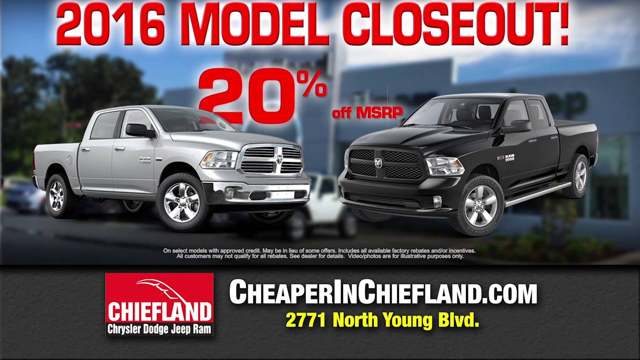 20 off 2016 models at chiefland chrysler dodge jeep ram youtube youtube