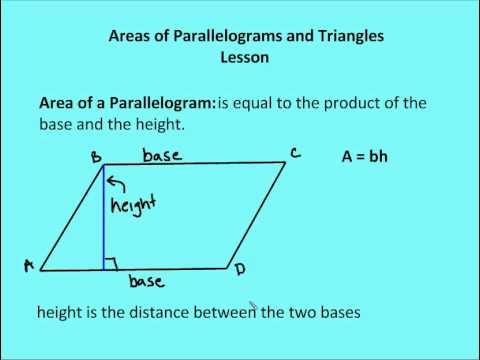 area of triangles and parallelograms Calculate the area of rectangles, squares and parallelograms.