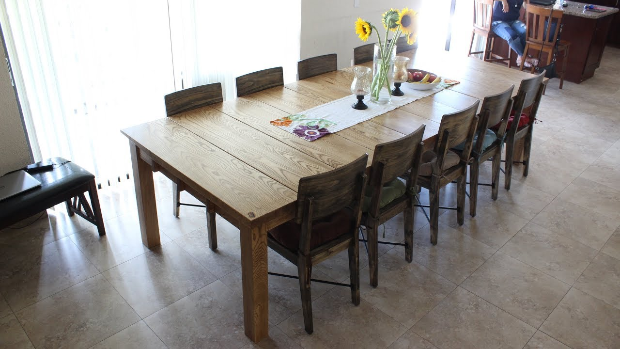 Making a 10\' x 4\' Solid Ash Dining Table - YouTube
