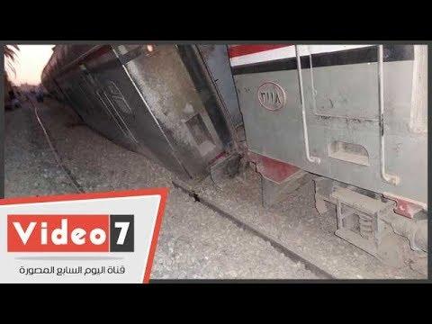 أول لقطات لخروج قطار القاهرة أسوان عن مساره