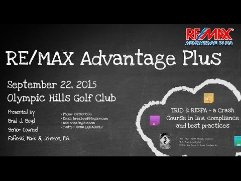 REMAX Advantage Plus and Brad Boyd - New TRID Rule Effective Oct 2015