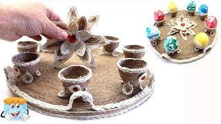 Пасхальный Поднос из Джута Своими Руками в Подарок Мастер Класс