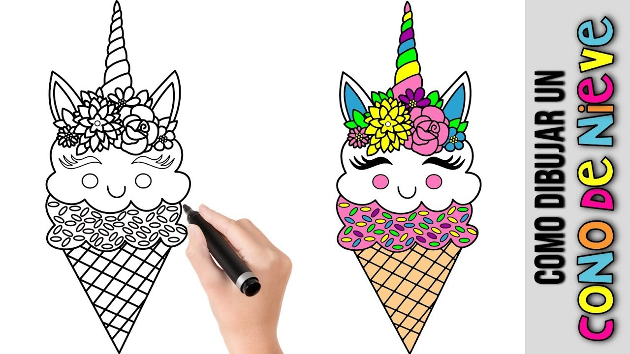 Como Dibujar Un Cono De Nieve Unicornio Kawaii Unicornios
