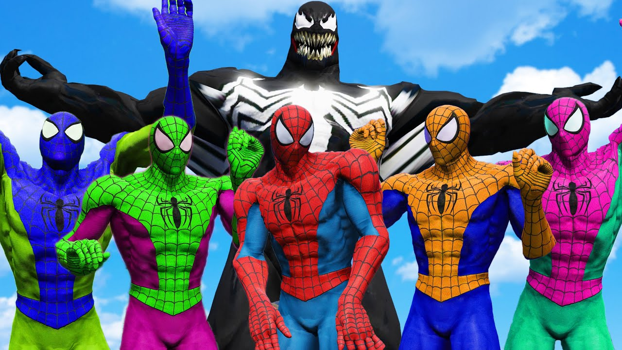 Team Spider Man Muscle Color VS Venom - Monster Universe Epic Battle