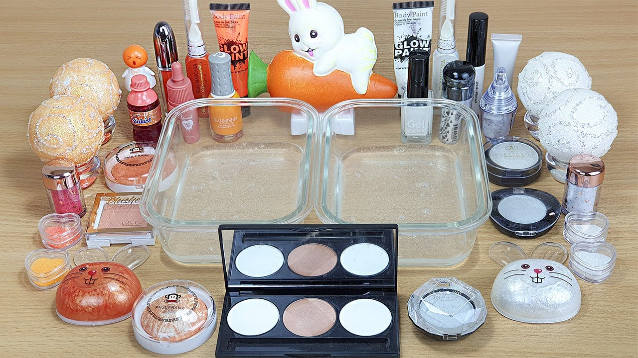 WHITE vs ORANGE SLIME Mixing makeup and glitter into Clear Slime Satisfying Slime Videos