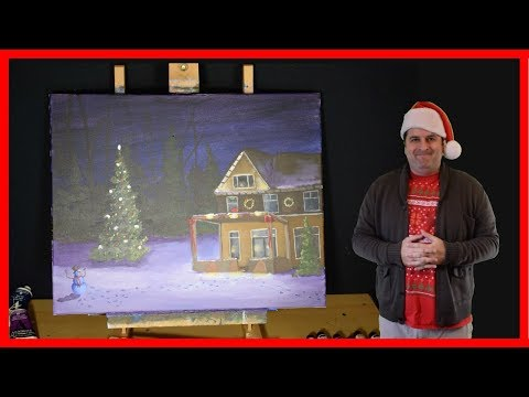 A Christmas House -PART 2 – Holiday Acrylic Painting Tutorial for Beginners – Studio-214