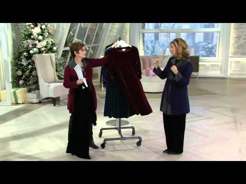 Susan Graver Velvet Swing Dress with 3/4 Ruched Sleeves on QVC