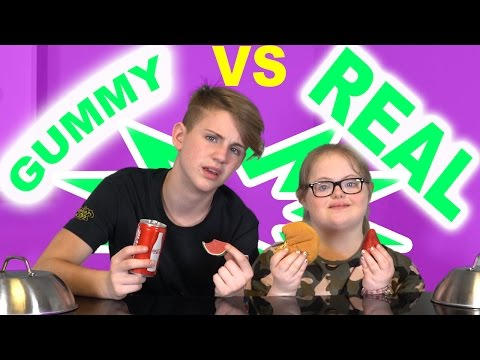 GUMMY FOOD vs REAL FOOD CHALLENGE! (Sarah Grace vs MattyBRaps)