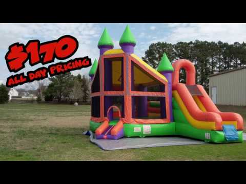 Inflatables NC - Deluxe Castle & Slide - Setup