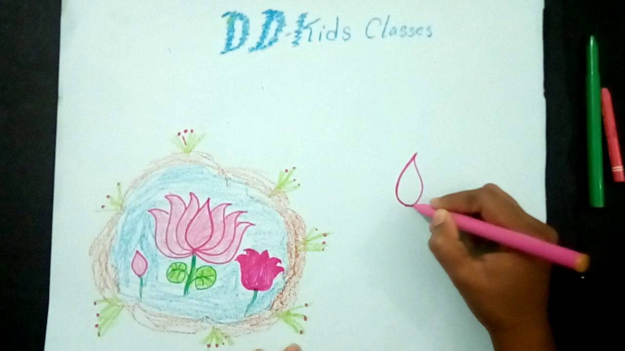 Lotus Flower Drawing How To Draw A Bjp Lotus Flower Youtube
