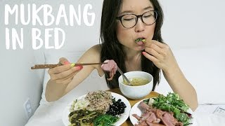MUKBANG IN BED with Korean Food ■ Kimchi, Bean Sprout Soup, Duck Salad