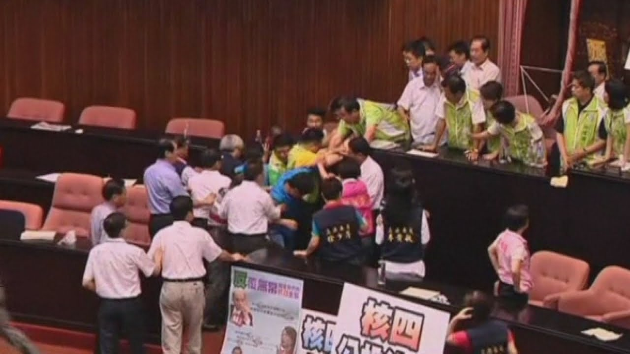 Mass fight breaks out between rival politicians in Taiwan parliament
