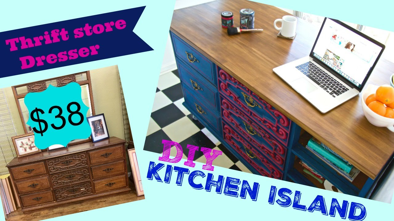 diy kitchen island on wheels cabinets at home depot how to make a from thrift store dresser ...