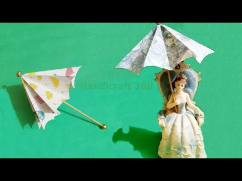 How to make a paper umbrella that open and closes | easy craft | Handicraft 360