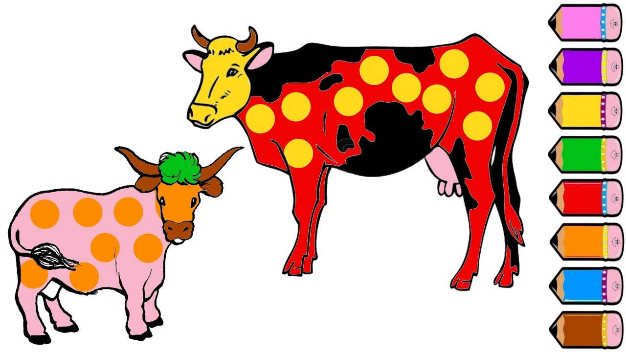 Cow Family Coloring Page - Drawing For Kids - Learn Colours
