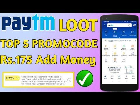 Paytm Top 5 Promocode 2018||Paytm 50 Cashback||Paytm Cashback Paytm Today Promocode
