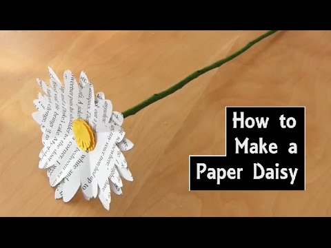 How to Make a Paper Daisy with a Wire Stem | DIY Flower Craft using Book Pages | Wedding Bouquet