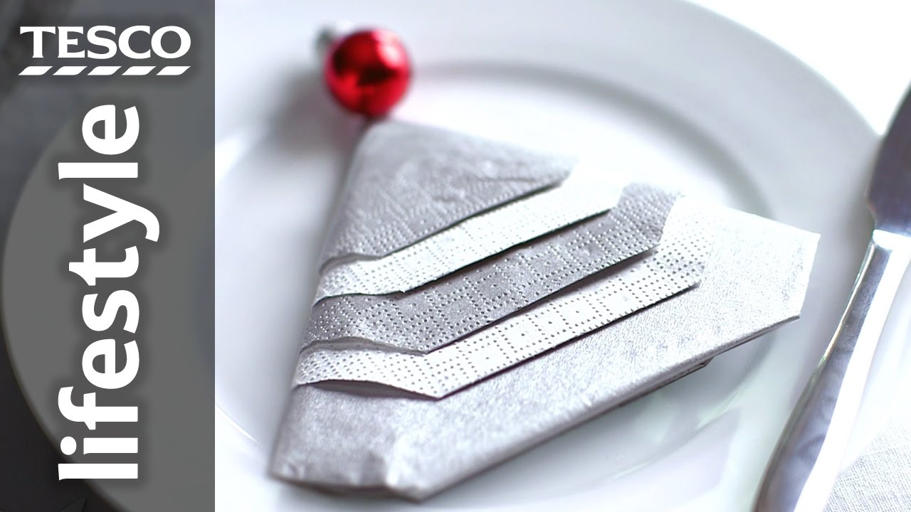 & How To Fold a Napkin into a Christmas Tree | Tesco Living - YouTube