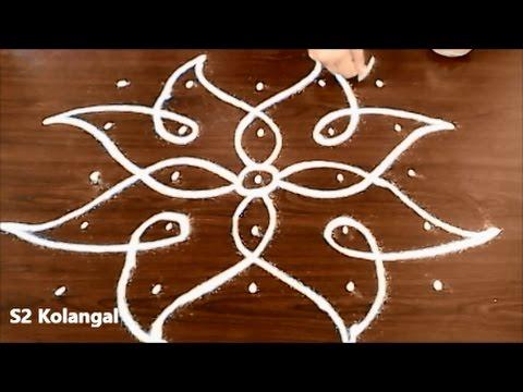 Sikku Kolam With 5X5 Dots - Easy Rangoli Designs - Melikala Muggulu Designs With Dots