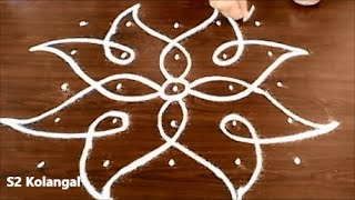 sikku kolam with 5X5 dots - easy rangoli designs - melikala muggulu designs with dots