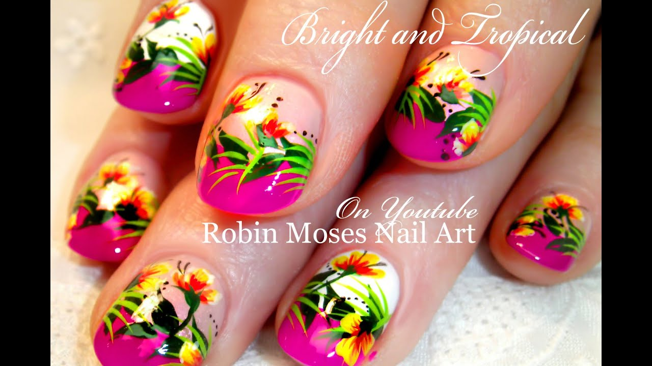 Hot Pink Tropical Neon flower Nails | Neon Tip Nail Art ...