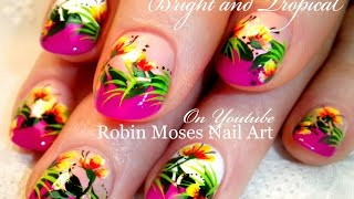Nail Art For Short Nails - Tropical Flowers Design Tutorial