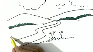 How to draw a simple scenery  - in easy steps for children, kids, beginners