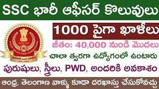 SSC భారీ నోటిఫికేషన్ 1000 పైగా ఉద్యోగాలు | Latest SSC Notification 2019 Telugu | Central Jobs 2019