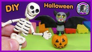 ХЭЛЛОУИН DIY 🎃 ЛЕПКА ИЗ ПЛАСТИЛИНА  🎃 ТЫКВА И СКЕЛЕТ | Видео Лепка  DIY Halloween