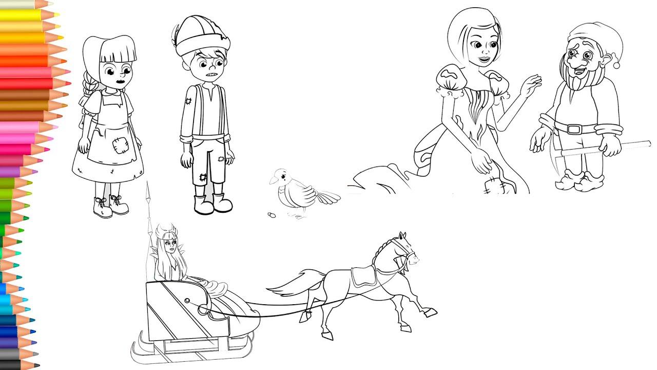 Dibujar y Colorea | Dibujos Para Niños | Hansel y Gretel - Blancanieves - La Reina de las Nieves