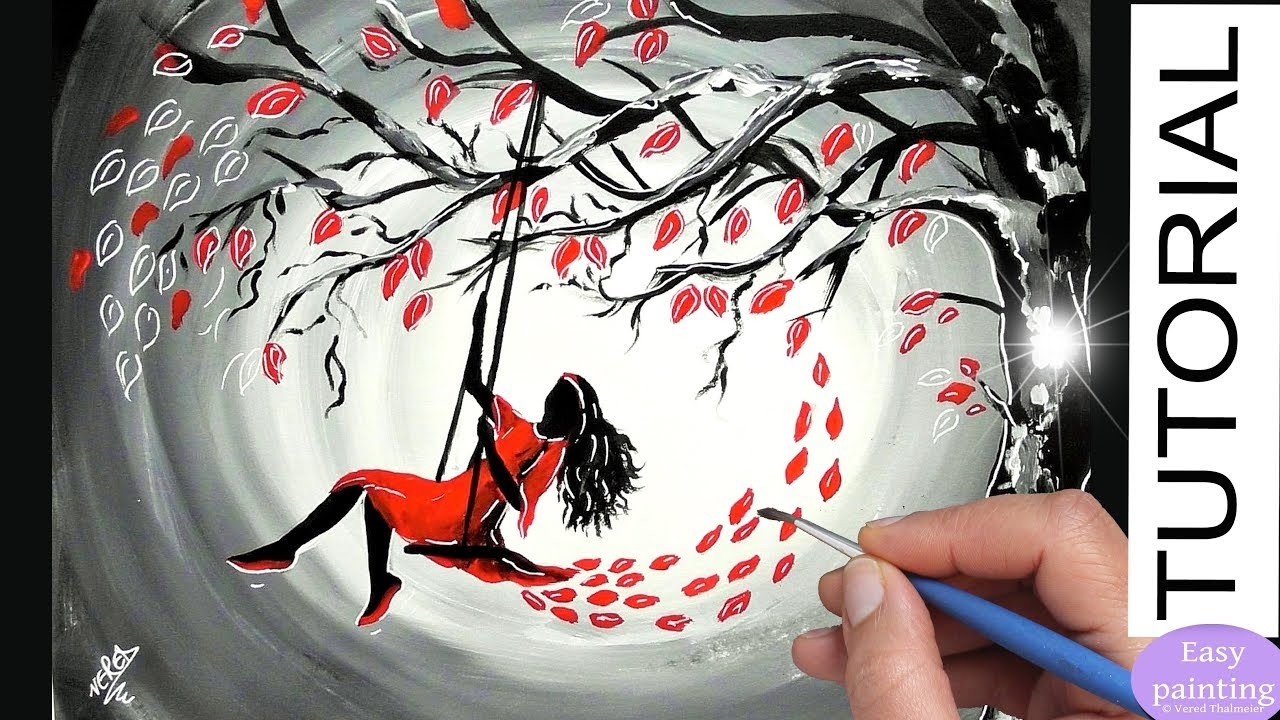 How To Paint A WOMAN On SWING Red Dress Painting Tutorial Step By Black White