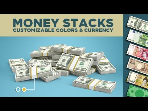 Money Stacks falling in After Effects - Customizable Currency