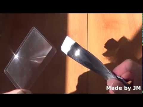Credit card size Fresnel lens fire starter test
