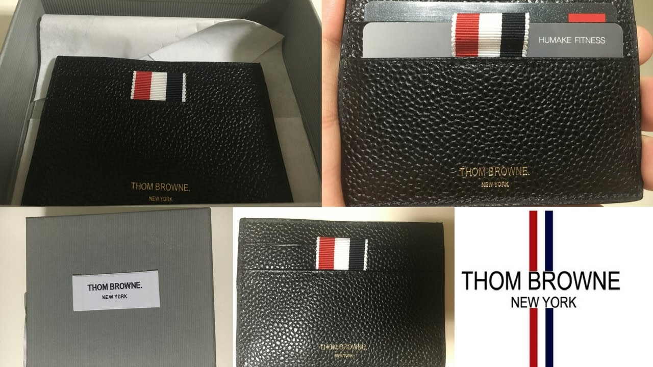 cheap for discount 149d5 1aeac THOM BROWNE - Card Holder Wallet Review - Black Leather - Slim Fit