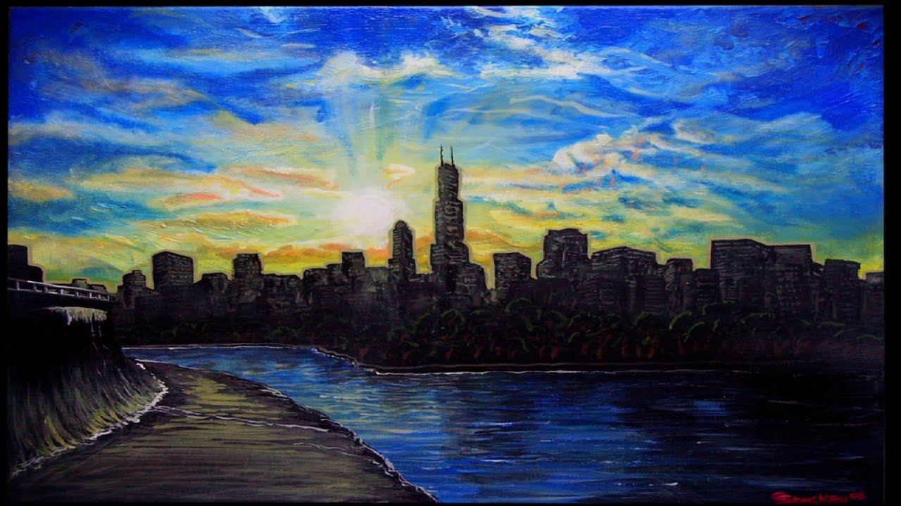 Chicago Skyline Painting In Stop Motion Glen Shackley