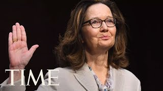 president donald trump swears in gina haspel as cia director at langley headquarters time