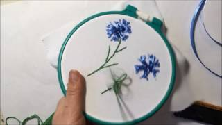 Василек вышитый лентами / Cornflower embroidered with ribbons