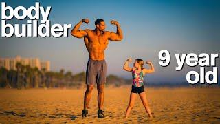 BODYBUILDER vs MY DAUGHTER  Adorable Fitness and Gymnastics Challenge
