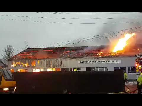 Carrick-on-Suir Mart on fire. Credit: Anthony Fitzpatrick