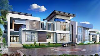 Проект дома в стиле хай тек. Дом с гаражом, бассейном, террасами и спортзалом. Ремстройсервис V-970