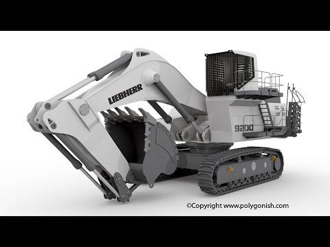 Blender Rigging Liebherr R9200 Backhoe Attachment Mining Excavator 3D Model