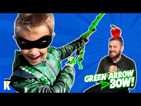 Green Arrow Bow! Super Hero Gear Test and Game for Kids | KIDCITY