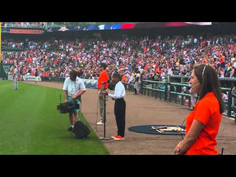 Talented 13 year old Kid Caleb Carroll singing GOD Bless America for Detroit Tigers Game 71915