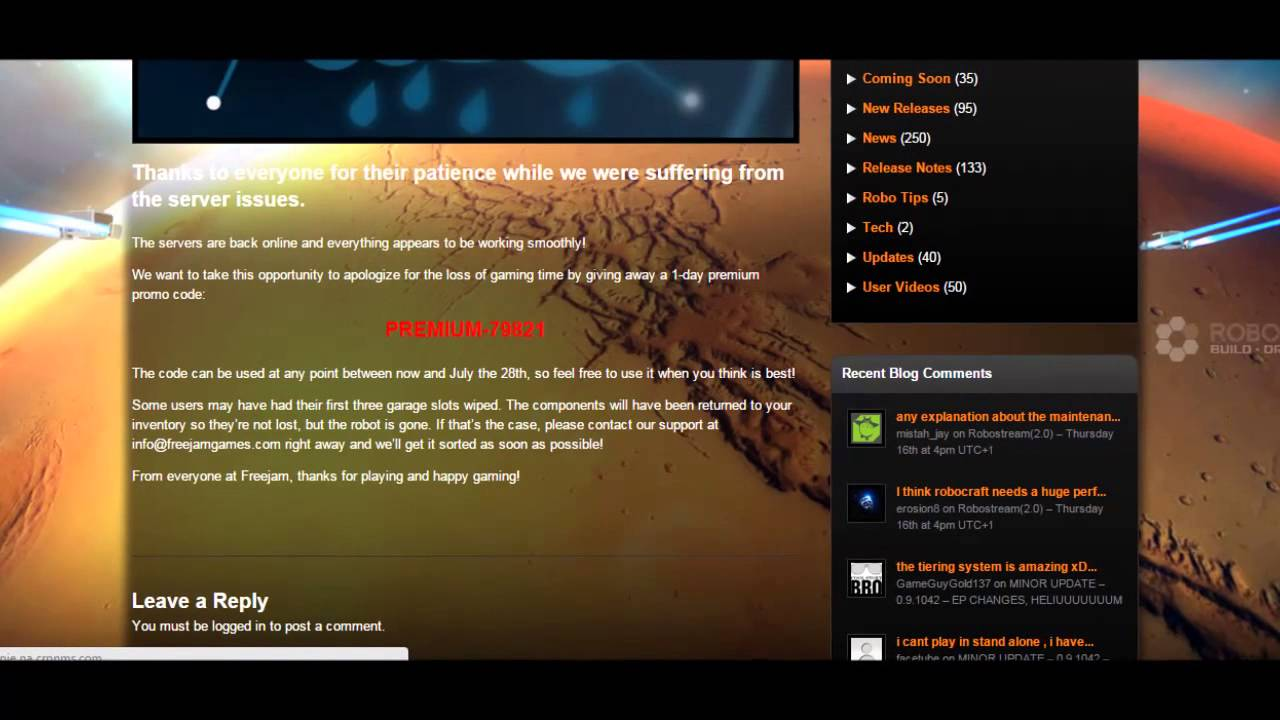 Robocraft - Promocode - 1 day premium - YouTube