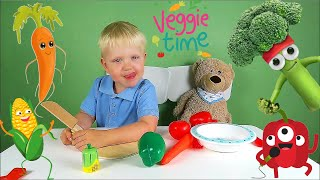 Learn Vegetables and Fruits for toddlers - Kris and Alex learn veggies