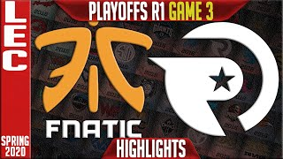 FNC vs OG Highlights Game 3 | LEC Spring 2020 Playoffs Round 1 | Fnatic vs Origen G3