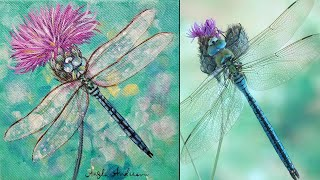 Dragonfly Thistle Acrylic Painting Tutorial LIVE