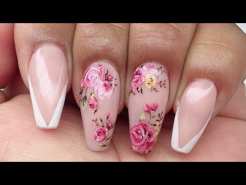 Uñas acrílicas floreadas efecto porcelana 💐cover pink 😍 - YouTube