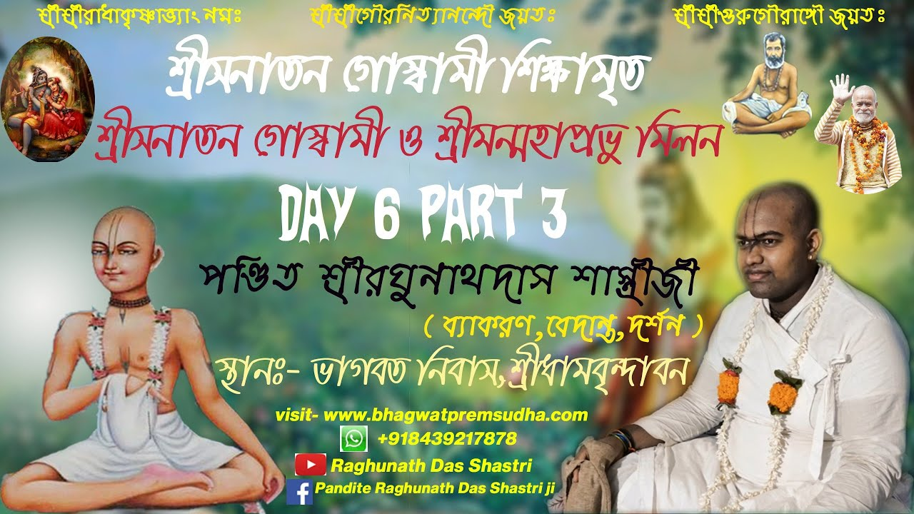 শ্রীসনাতন শিক্ষামৃত । Sri Sanatan Sikhsamritam ৷ Pandit Raghunath Das Shastri.Day 6 Part 3. 05/07/20