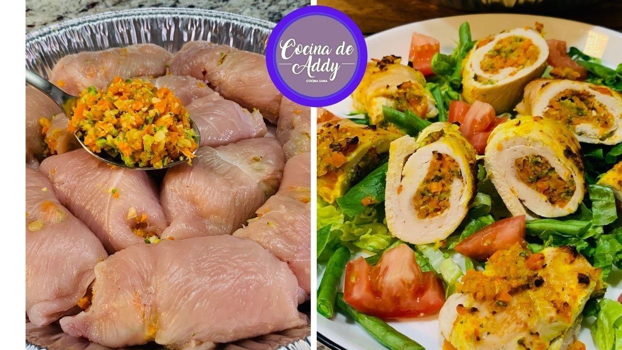 GASTRITIS/COLITIS Comida Saludable Apta y Fácil. ROLLITOS SORPRESA con Pollo   Cocina de Addy